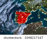 country of spain in red on... | Shutterstock . vector #1048217167
