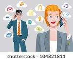 caucasian businesswoman and... | Shutterstock .eps vector #104821811