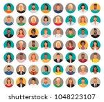 56 avatars  women  and men... | Shutterstock .eps vector #1048223107