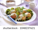 fish meat balls  in dill sauce. | Shutterstock . vector #1048237621