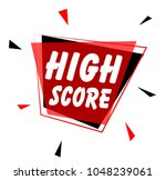 high score  sign with red label | Shutterstock .eps vector #1048239061