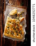pizza dought focaccia with... | Shutterstock . vector #1048252771