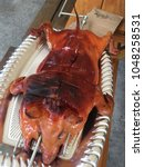 roasted suckling pig on the... | Shutterstock . vector #1048258531