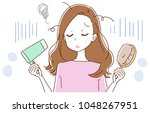 a woman is confused by hair... | Shutterstock .eps vector #1048267951