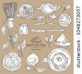 collection of matcha green tea  ...   Shutterstock .eps vector #1048273057