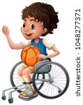 boy in wheelchair playing... | Shutterstock .eps vector #1048277371