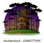 scene with haunted house at...   Shutterstock .eps vector #1048277395