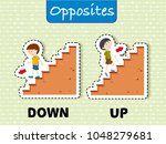 opposite words for down and up... | Shutterstock .eps vector #1048279681