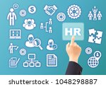 business hand selecting hr... | Shutterstock . vector #1048298887