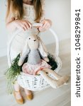 easter basket with easter bunny | Shutterstock . vector #1048299841