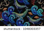 embroidery whales and anchor... | Shutterstock .eps vector #1048303357