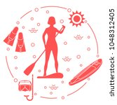 woman paddling a stand up... | Shutterstock .eps vector #1048312405