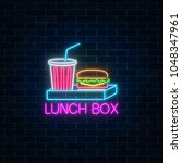 neon food and drink lunch box... | Shutterstock .eps vector #1048347961