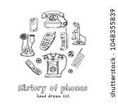 history of phones hand drawn... | Shutterstock .eps vector #1048355839