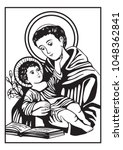 saint anthony and child jesus... | Shutterstock .eps vector #1048362841