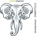 vector illustration  elephant... | Shutterstock .eps vector #1048375111