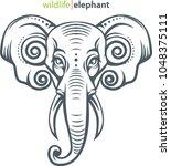 vector illustration  elephant... | Shutterstock .eps vector #1048375111