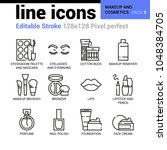 makeup and cosmetics line icons ... | Shutterstock .eps vector #1048384705