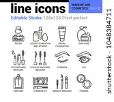 makeup and cosmetics line icons ... | Shutterstock .eps vector #1048384711