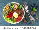 buddha bowl dinner with boiled... | Shutterstock . vector #1048384774