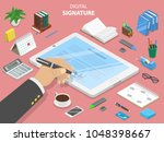digital signature flat... | Shutterstock .eps vector #1048398667