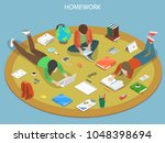 homework flat isometric vector...   Shutterstock .eps vector #1048398694
