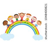 children sitting on rainbow ... | Shutterstock .eps vector #1048400821