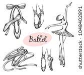 vector set with ballet items   Shutterstock .eps vector #1048402891