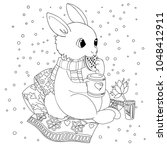 Stock photo doodle coloring book page rabbit with a mug antistress coloring for adults and children 1048412911