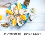 fresh oysters close up on blue... | Shutterstock . vector #1048413394