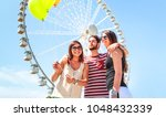 happy best friends having fun... | Shutterstock . vector #1048432339