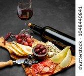 meat plate antipasti snack  ... | Shutterstock . vector #1048440841