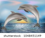 two dolphins background. vector ...