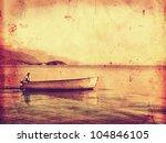 Lonely Ferryman On Boat Vintag...