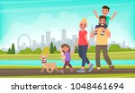 Stock vector happy family walks around the city park father mother son and daughter together outdoors vector 1048461694