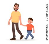 father and son are walking...   Shutterstock .eps vector #1048462231
