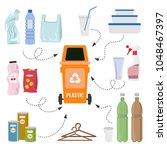 plastic trash on white... | Shutterstock .eps vector #1048467397