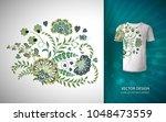floral print for t shirt.... | Shutterstock .eps vector #1048473559