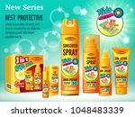 poster of set sunscreen  cream  ... | Shutterstock .eps vector #1048483339