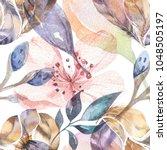 boho seamless watercolor... | Shutterstock . vector #1048505197