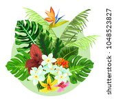 colorful tropical plants design.... | Shutterstock . vector #1048523827