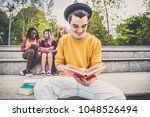 multi ethnic group of students... | Shutterstock . vector #1048526494