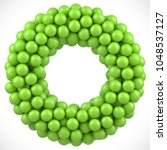 green balls round vector frame. ... | Shutterstock .eps vector #1048537127