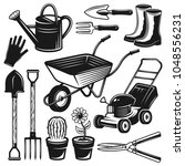 gardening tools and equipment... | Shutterstock .eps vector #1048556231