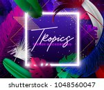 tropical palm leaves set  drawn ... | Shutterstock .eps vector #1048560047