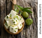 diced feta with olives | Shutterstock . vector #104856191