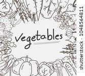 hand drawn vegetables doodles... | Shutterstock .eps vector #1048564811