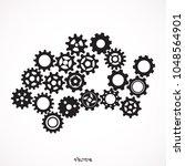 gears icon. vector pictograph... | Shutterstock .eps vector #1048564901