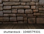 Small photo of The room dork rock wall. And floor wood.