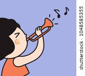 asian kid girl playing trumpet. ... | Shutterstock .eps vector #1048585355